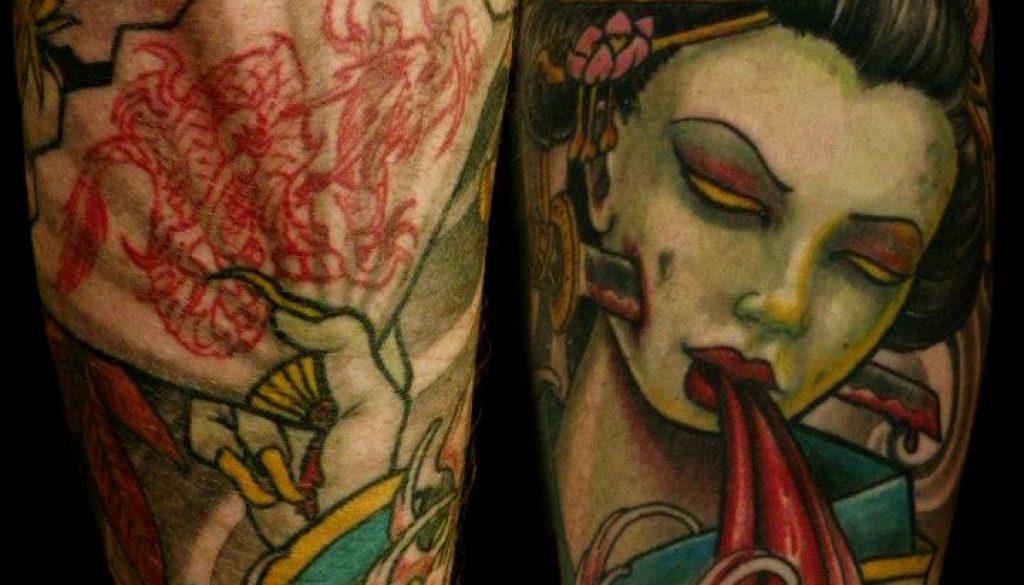 Gaisha and fan Tattoo