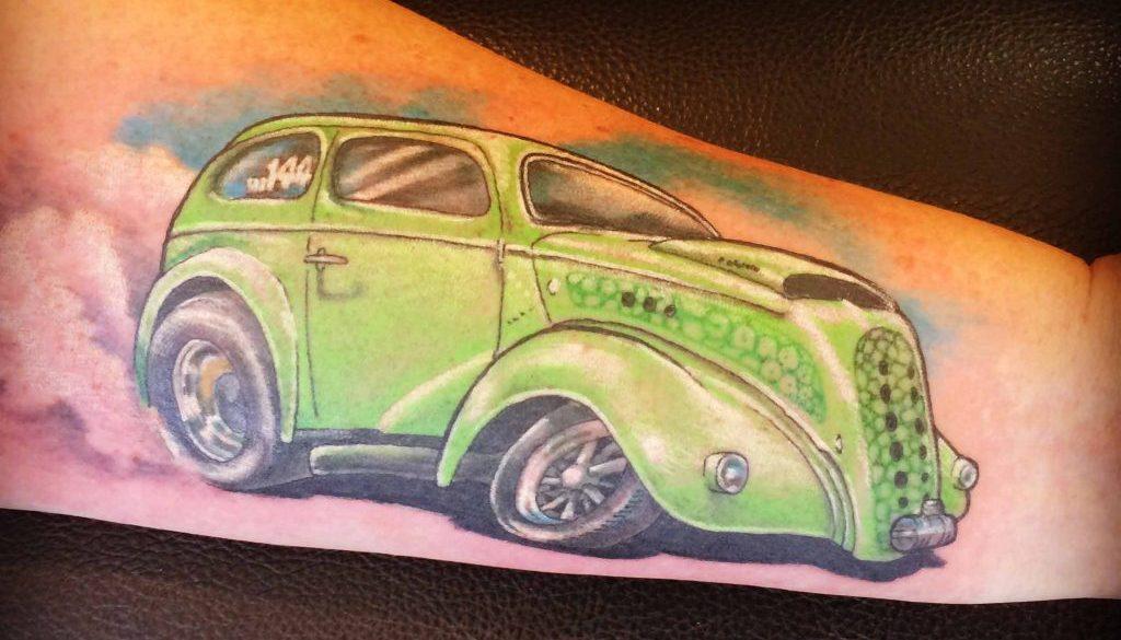 hot rod ford pop tattoo Tauranga New Zealand