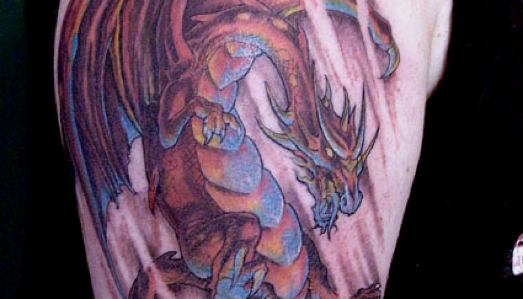 swooping red dragon tattoo
